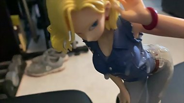 One man bukkake for an Android 18 anime figurine
