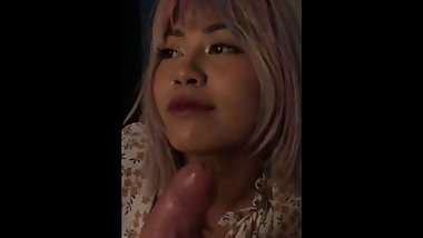 Cute 18yo Asian babe embarrassed shy being filmed sucking my cock