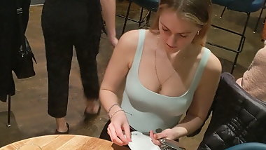 Sexy waitress with a nice cleavage