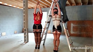 1888 Brutally Bound Office-Mates Tied Arms Overhead on Construction Site!