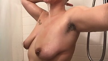 Hairy Armpit Girl Masturbating in Shower (18)