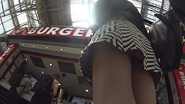 Sexy Brazilian upskirted at Burger King