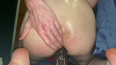 18yr old Teen Rides HUGE Black Dildo