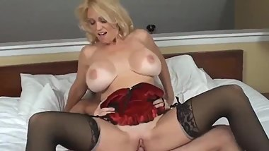 Busty and horny stepmom gets hard fucke by her lucky 18yo stepson