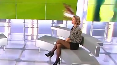 TV sport host Astrid in black pantyhose