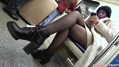 Leggy Blonde BRAT in black pantyhose and high heels boots
