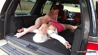 2218 Taken, Gagged, and Spread-Eagled in Truck for Bound Oral Orgasms!