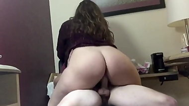 Thick White Slut Rides White Cock !!