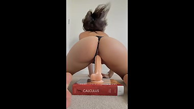 Teen girl rides dildo with slip on - tight pussy